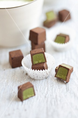 Chocolates filled with matcha tea cream