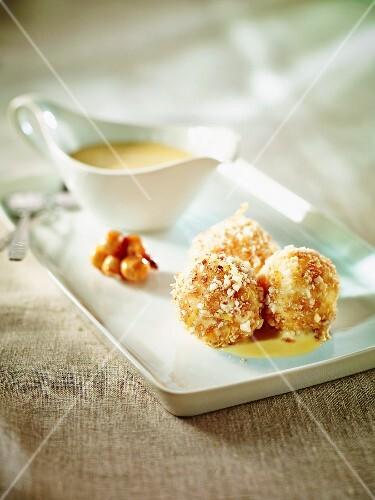 Cherry dumplings with hazelnuts and vanilla ice cream