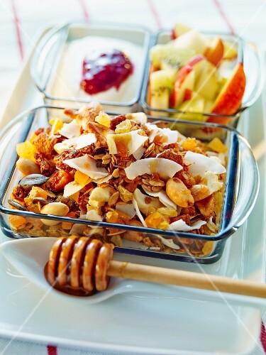 Breakfast cereals, apple, kiwi and yogurt