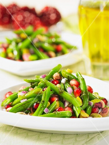 Bean salad with pistachios and pomegranate seeds