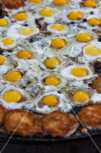 Fired quail's eggs at a market in Myanmar