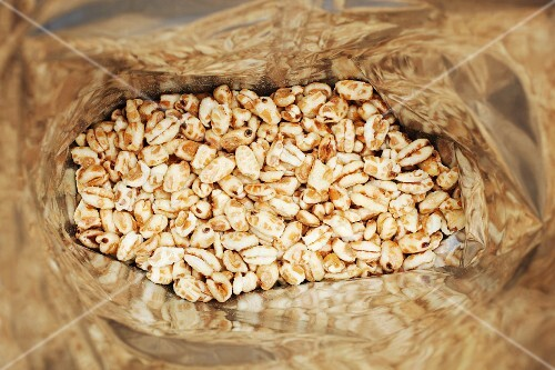 A bag of puffed wheat (seen from above)