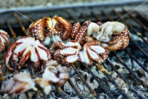 Octopuses on a barbecue
