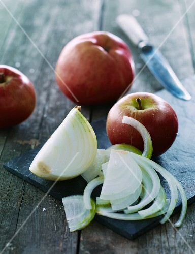 Apples and sliced onions