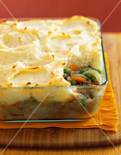 Shepherds pie in glass baking dish