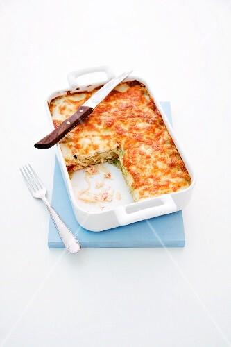 Salmon lasagne with sauerkraut and pepper