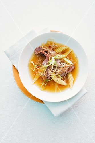 Glass noodle soup with duck and baby corn cobs (Asia)
