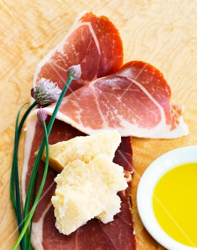Parma ham, Parmesan and olive oil