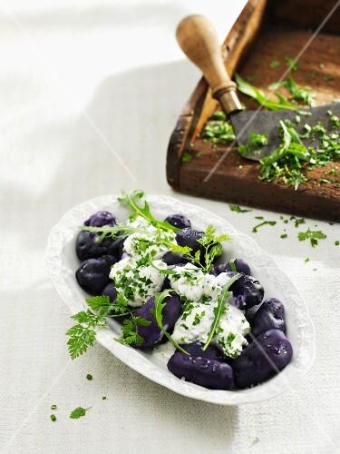 Blue Congo potatoes with herb quark