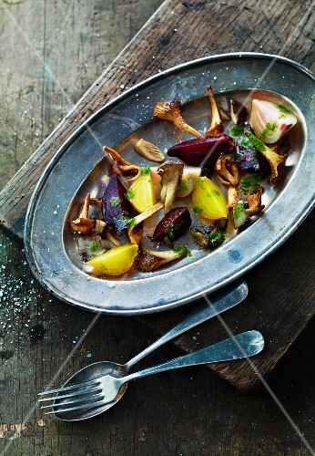 Beetroot and golden beets with chanterelle mushrooms