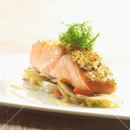 Salmon fillet with a herb crust on a bed of chicory
