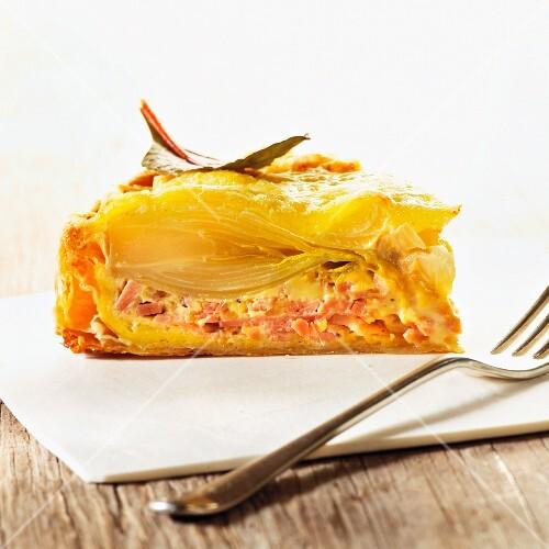 Chicory tart with ham