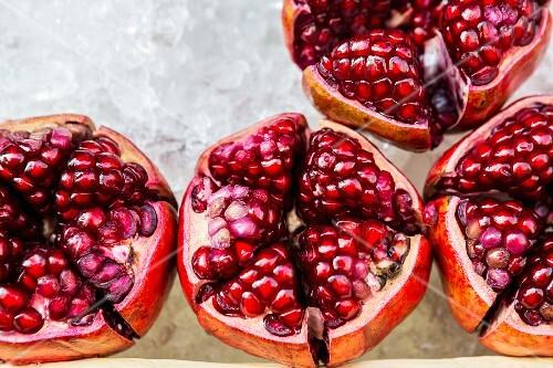 Halved pomegranates