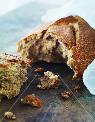 A broken bread roll