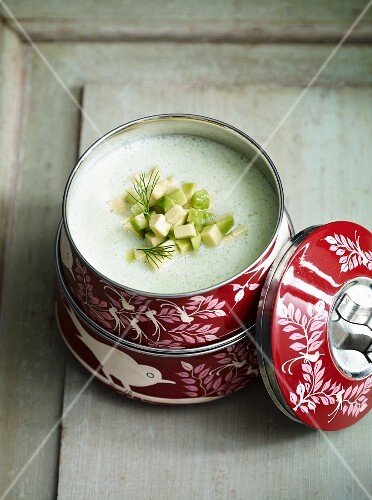 Cold cucumber soup with avocado