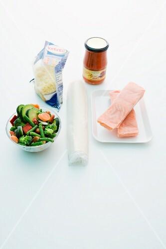Ingredients for salmon tart