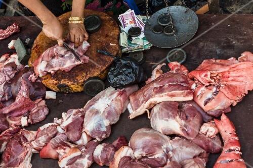 Fresh pork at a market in Myanmar
