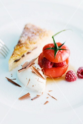 Tomatoes filled with raspberries, caramelised Eierschecke (speciality layer cake from Saxony and Thuringia) and white chocolate ice cream