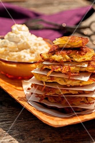 Potato cakes with apple cream
