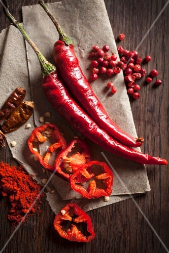Chillis: peppers, dried, powder and peppercorns