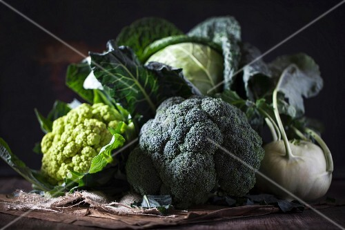 An arrangement of cabbages and kale