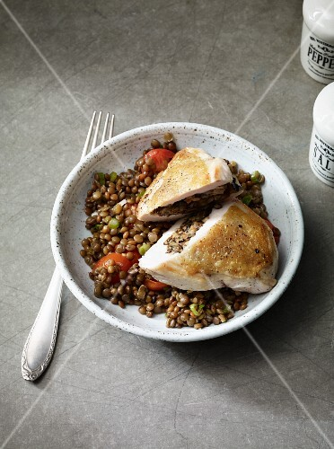 Chicken breast with a lentil medley