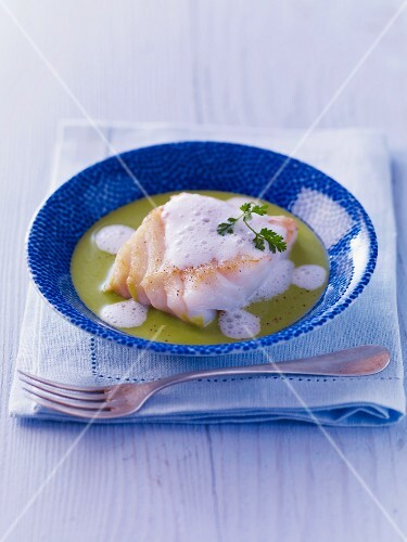Cod with herb sauce