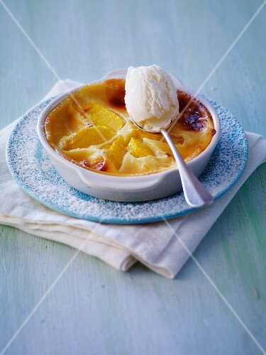 Nectarine flan with creamy ice cream