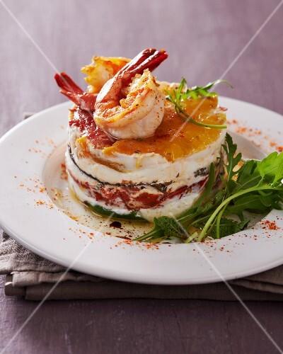 A vegetable tartlet with prawns