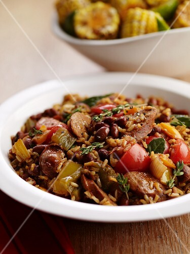 Sausage stew with rice, beans and tomatoes