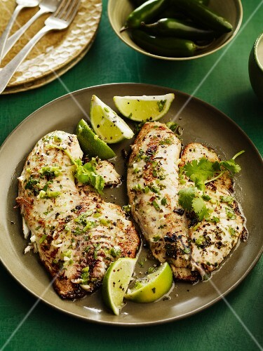 Fish with a lime sauce and coriander