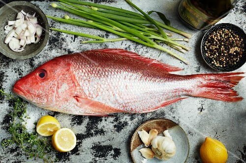 Red snapper, onions, lemons, garlic and pepper