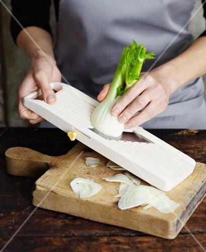 Fennel being sliced