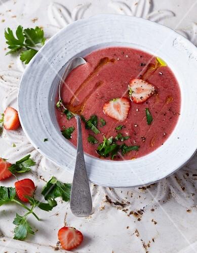 Gazpacho with strawberries