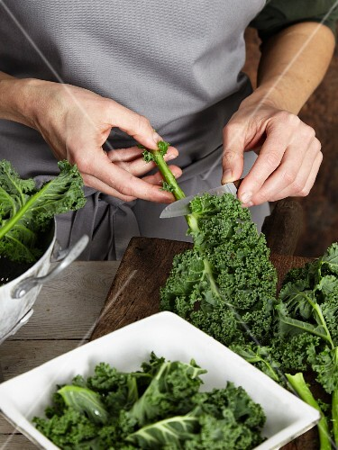 Green kale being prepared for a smoothie