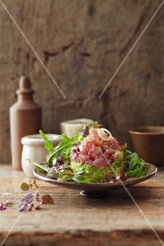 Tuna and avocado tartar with rocket