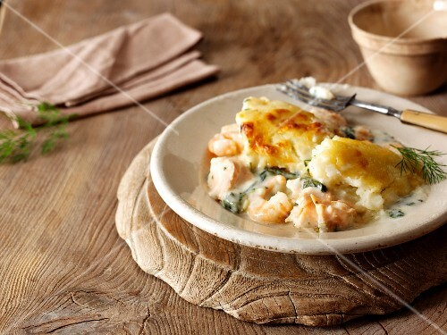 Fish pie with mashed potato topping