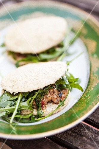 Beef and rocket sandwiches