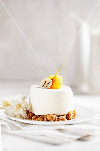 Lemon cake on a bed of crumbles