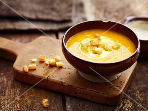Pumpkin soup with spicy croutons