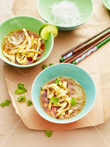 Glass noodle soup with turkey strips and oyster mushrooms