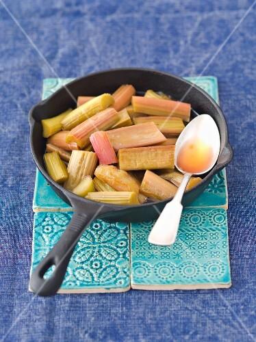 Rhubarb steamed with demerara sugar