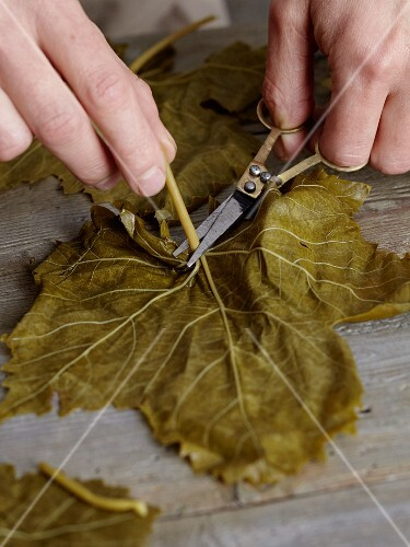 Vine leaves being prepared