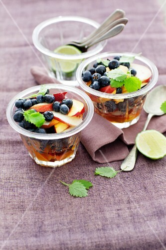 Fruit salad with blueberries and nectarines