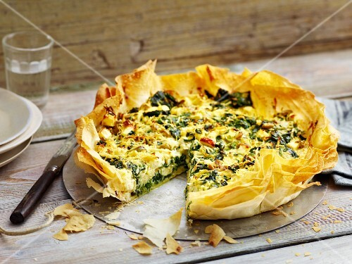 Hamburg root and spinach quiche