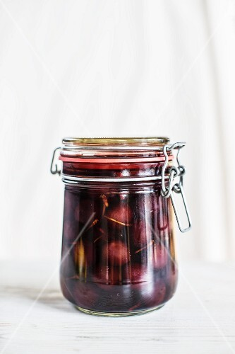 A jar of cherry compote