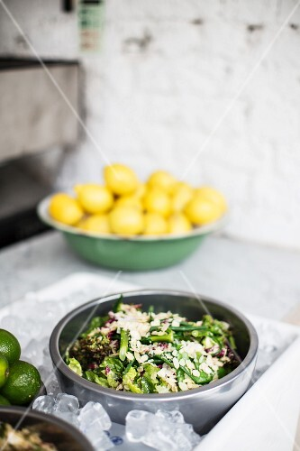 A mixed leaf salad with slivered almonds