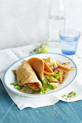 Tacos with grilled pear wedges