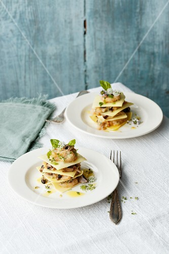 Mini smoked mushroom lasagnes