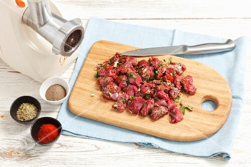 Marinated beef with herbs and garlic